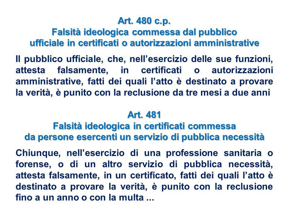 Art. 480 c.p. Falsità ideologica commessa dal pubblico ufficiale in certificati o autorizzazioni amministrative Il pubblico ufficiale, che, nell'eserc
