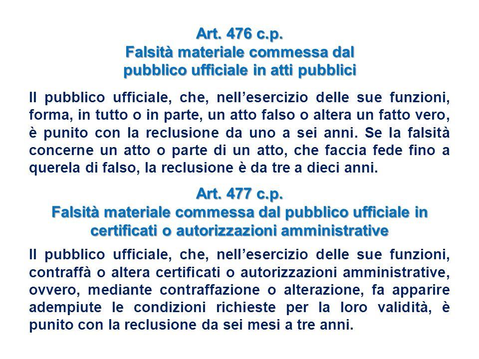 Art. 476 c.p. Falsità materiale commessa dal pubblico ufficiale in atti pubblici Il pubblico ufficiale, che, nell'esercizio delle sue funzioni, forma,