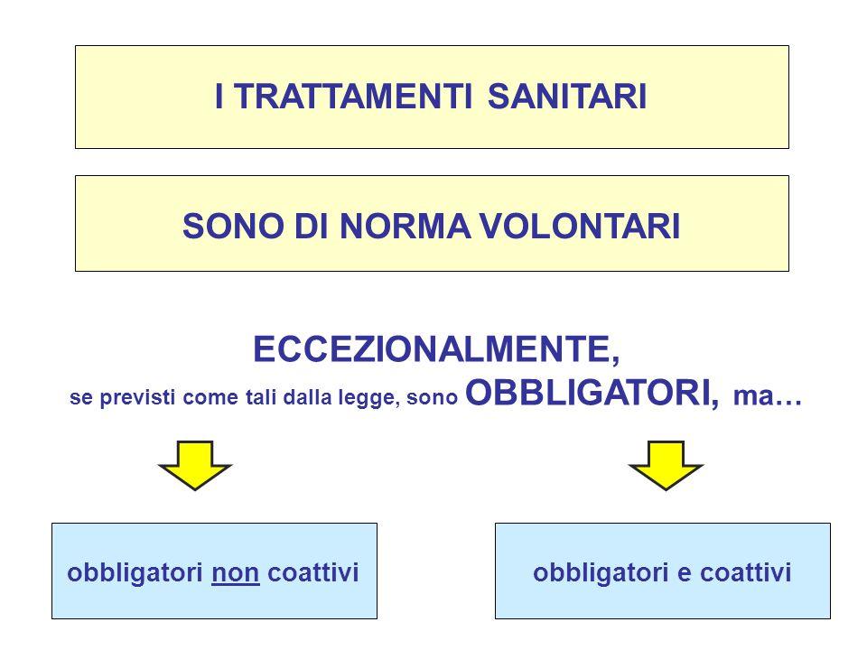 SONO DI NORMA VOLONTARI I TRATTAMENTI SANITARI ECCEZIONALMENTE, se previsti come tali dalla legge, sono OBBLIGATORI, ma… obbligatori non coattiviobbli