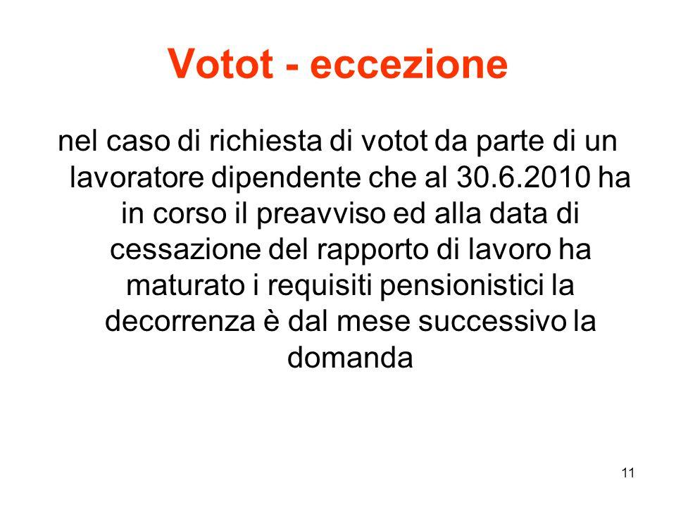 11 Votot - eccezione nel caso di richiesta di votot da parte di un lavoratore dipendente che al 30.6.2010 ha in corso il preavviso ed alla data di cessazione del rapporto di lavoro ha maturato i requisiti pensionistici la decorrenza è dal mese successivo la domanda