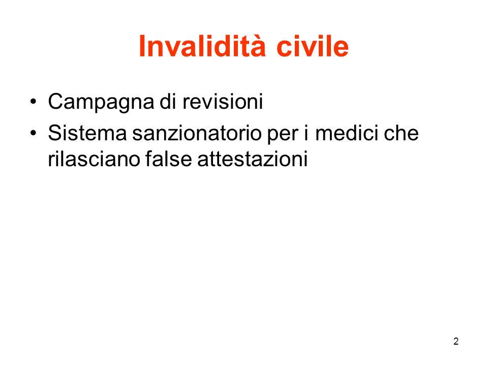 2 Invalidità civile Campagna di revisioni Sistema sanzionatorio per i medici che rilasciano false attestazioni