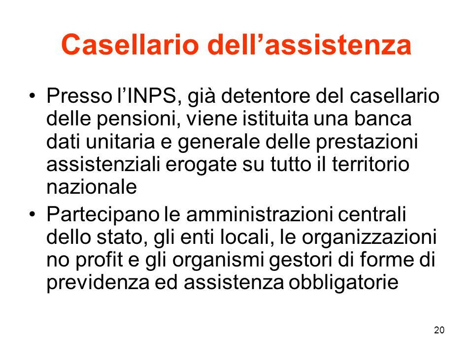 20 Casellario dell'assistenza Presso l'INPS, già detentore del casellario delle pensioni, viene istituita una banca dati unitaria e generale delle pre
