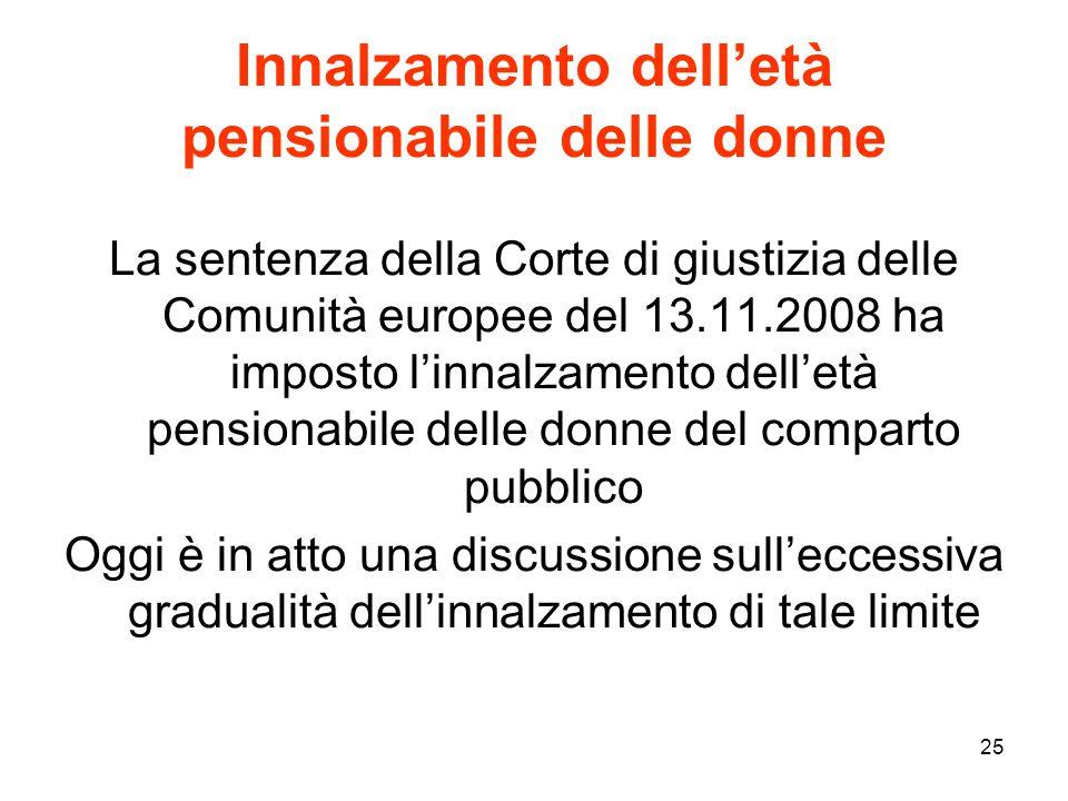 25 Innalzamento dell'età pensionabile delle donne La sentenza della Corte di giustizia delle Comunità europee del 13.11.2008 ha imposto l'innalzamento