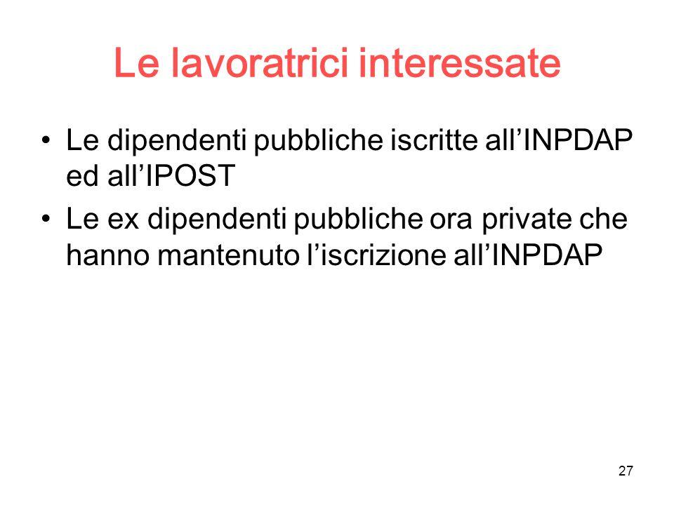 27 Le lavoratrici interessate Le dipendenti pubbliche iscritte all'INPDAP ed all'IPOST Le ex dipendenti pubbliche ora private che hanno mantenuto l'iscrizione all'INPDAP