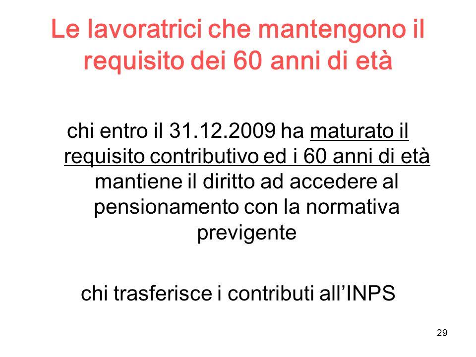 29 Le lavoratrici che mantengono il requisito dei 60 anni di età chi entro il 31.12.2009 ha maturato il requisito contributivo ed i 60 anni di età mantiene il diritto ad accedere al pensionamento con la normativa previgente chi trasferisce i contributi all'INPS