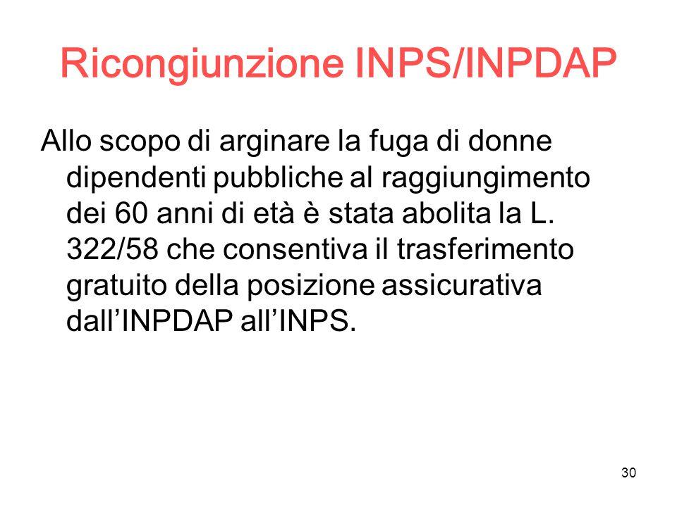 30 Ricongiunzione INPS/INPDAP Allo scopo di arginare la fuga di donne dipendenti pubbliche al raggiungimento dei 60 anni di età è stata abolita la L.