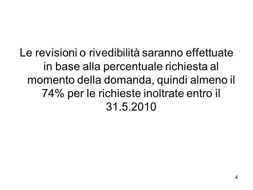 4 Le revisioni o rivedibilità saranno effettuate in base alla percentuale richiesta al momento della domanda, quindi almeno il 74% per le richieste inoltrate entro il 31.5.2010