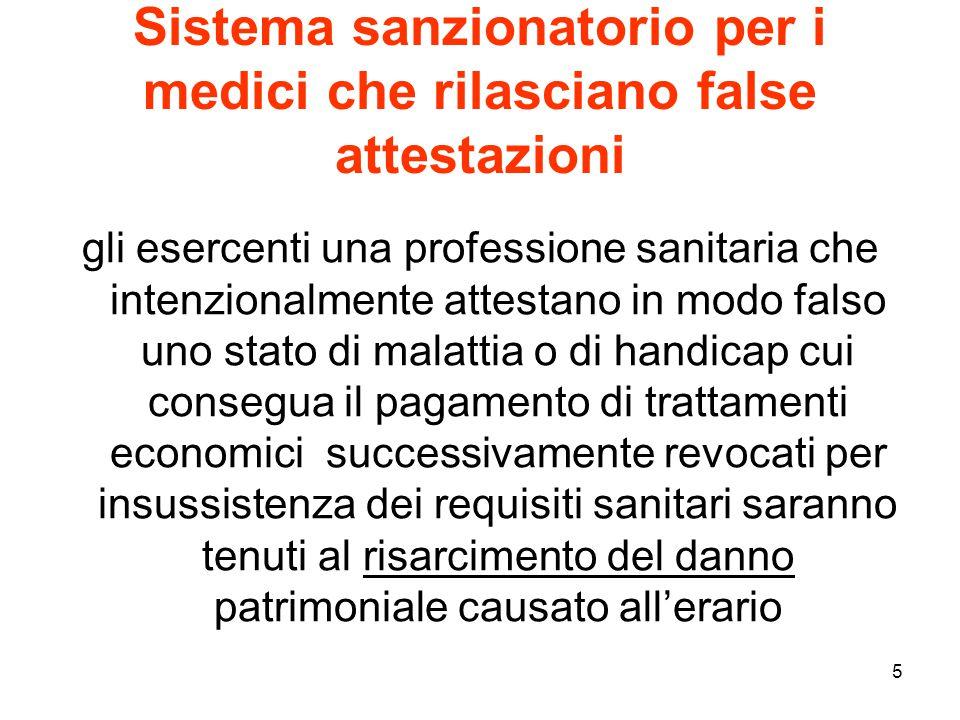 5 Sistema sanzionatorio per i medici che rilasciano false attestazioni gli esercenti una professione sanitaria che intenzionalmente attestano in modo