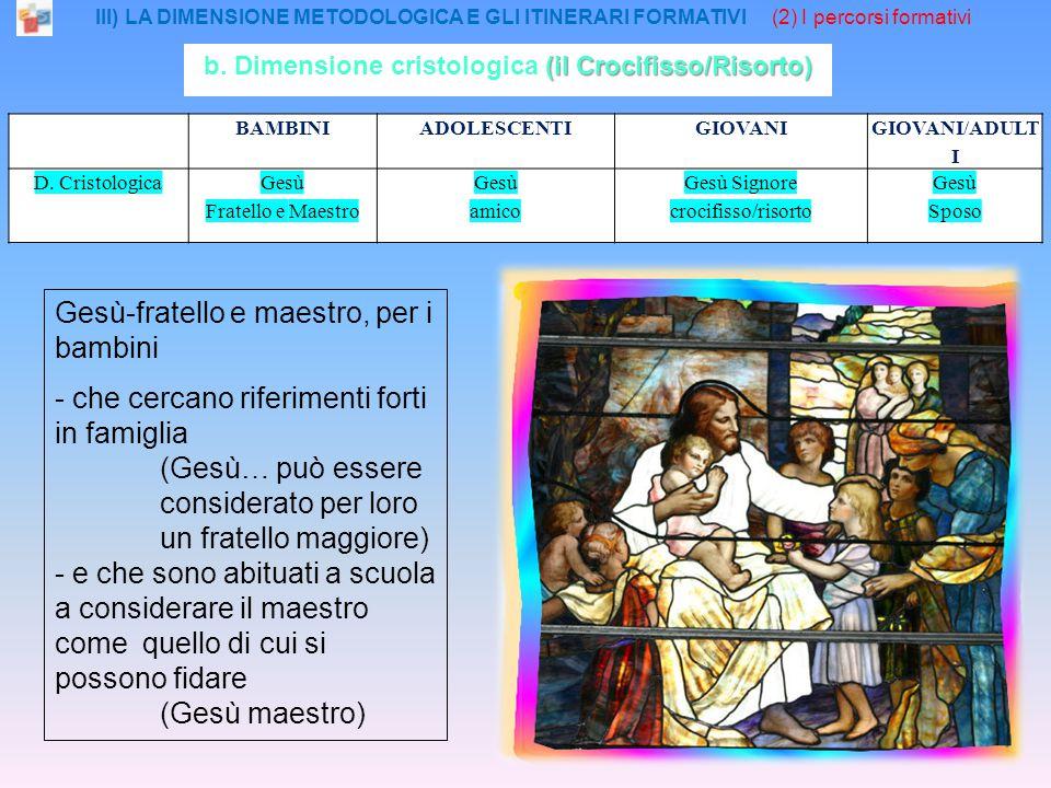 III) LA DIMENSIONE METODOLOGICA E GLI ITINERARI FORMATIVI (2) I percorsi formativi BAMBINIADOLESCENTIGIOVANI GIOVANI/ADULT I D.
