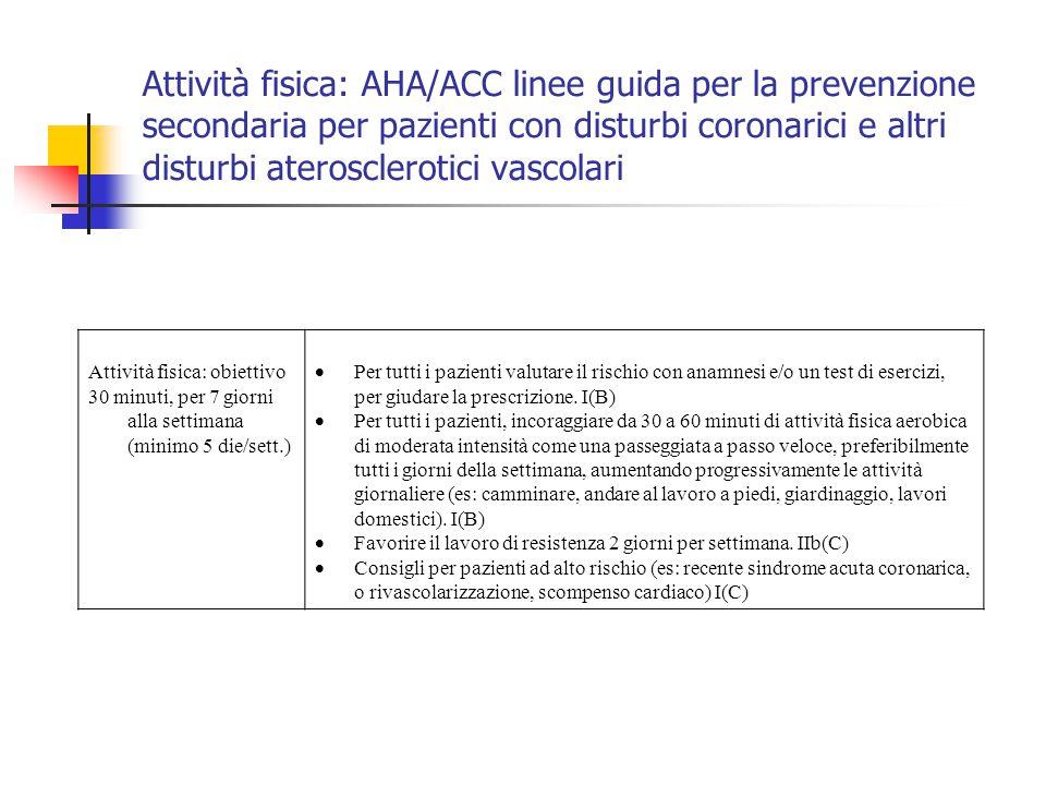 Attività fisica: AHA/ACC linee guida per la prevenzione secondaria per pazienti con disturbi coronarici e altri disturbi aterosclerotici vascolari Att