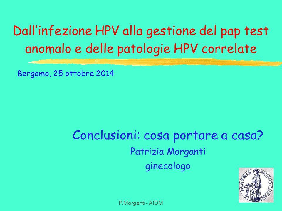 Dall'infezione HPV alla gestione del pap test anomalo e delle patologie HPV correlate P.Morganti - AIDM Conclusioni: cosa portare a casa? Patrizia Mor