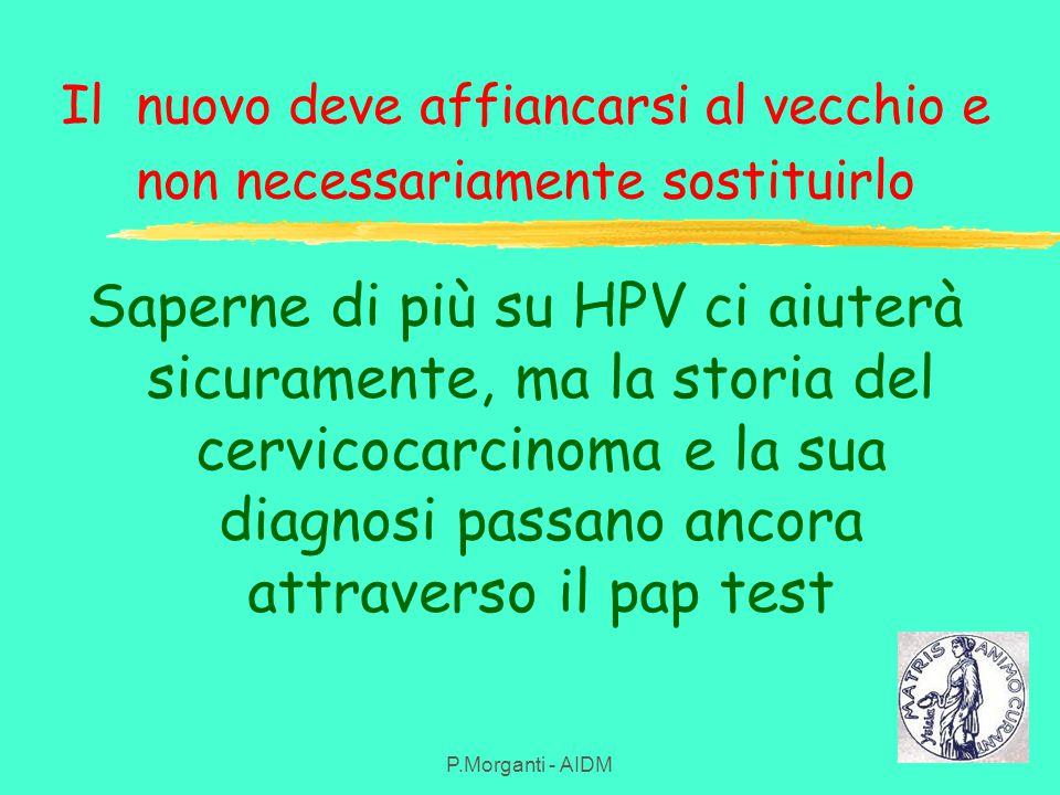Il nuovo deve affiancarsi al vecchio e non necessariamente sostituirlo Saperne di più su HPV ci aiuterà sicuramente, ma la storia del cervicocarcinoma e la sua diagnosi passano ancora attraverso il pap test P.Morganti - AIDM