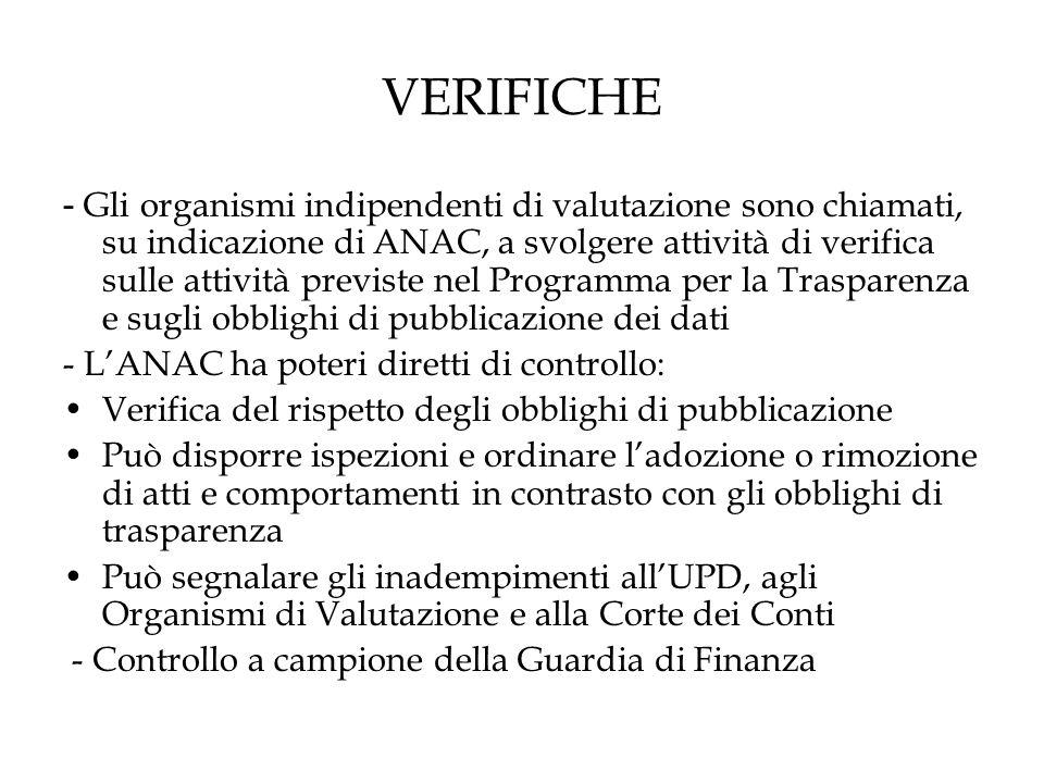 VERIFICHE - Gli organismi indipendenti di valutazione sono chiamati, su indicazione di ANAC, a svolgere attività di verifica sulle attività previste nel Programma per la Trasparenza e sugli obblighi di pubblicazione dei dati - L'ANAC ha poteri diretti di controllo: Verifica del rispetto degli obblighi di pubblicazione Può disporre ispezioni e ordinare l'adozione o rimozione di atti e comportamenti in contrasto con gli obblighi di trasparenza Può segnalare gli inadempimenti all'UPD, agli Organismi di Valutazione e alla Corte dei Conti - Controllo a campione della Guardia di Finanza