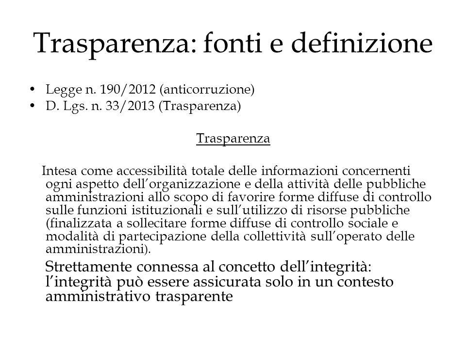 Trasparenza: fonti e definizione Legge n. 190/2012 (anticorruzione) D. Lgs. n. 33/2013 (Trasparenza) Trasparenza Intesa come accessibilità totale dell