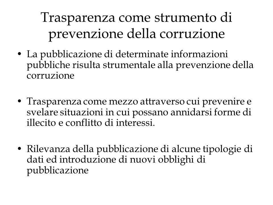 Trasparenza come strumento di prevenzione della corruzione La pubblicazione di determinate informazioni pubbliche risulta strumentale alla prevenzione