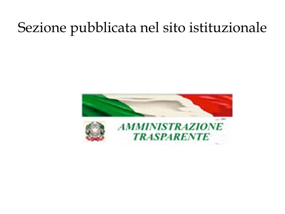 Sezione pubblicata nel sito istituzionale