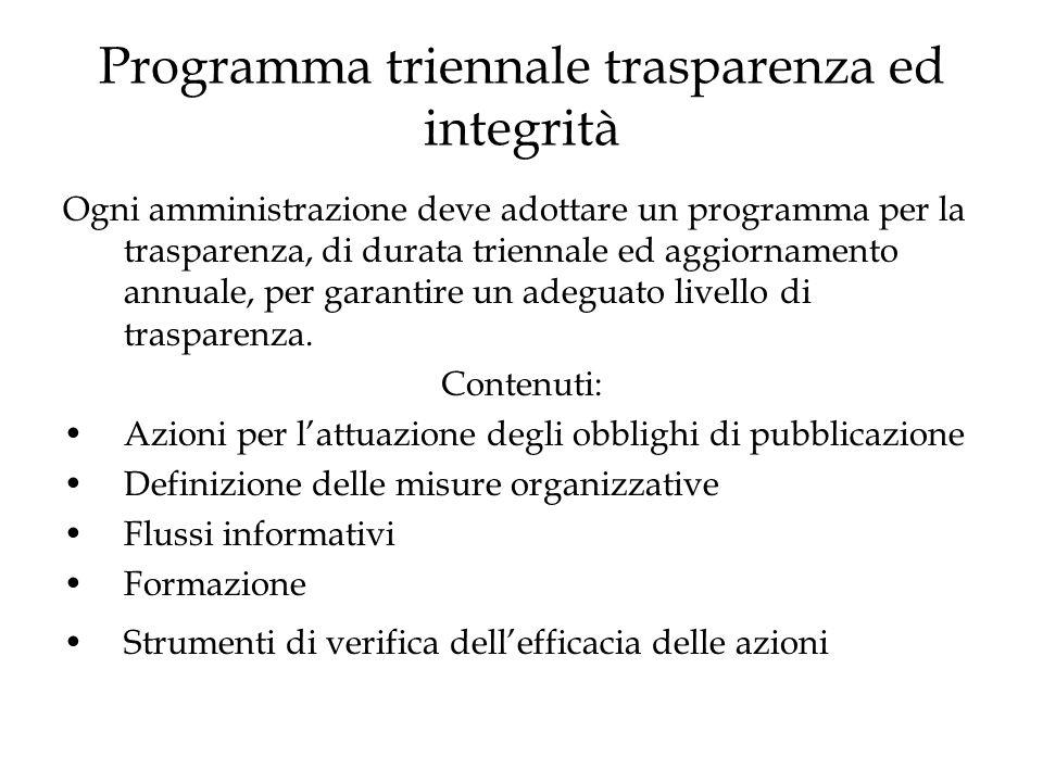 Programma triennale trasparenza ed integrità Ogni amministrazione deve adottare un programma per la trasparenza, di durata triennale ed aggiornamento annuale, per garantire un adeguato livello di trasparenza.