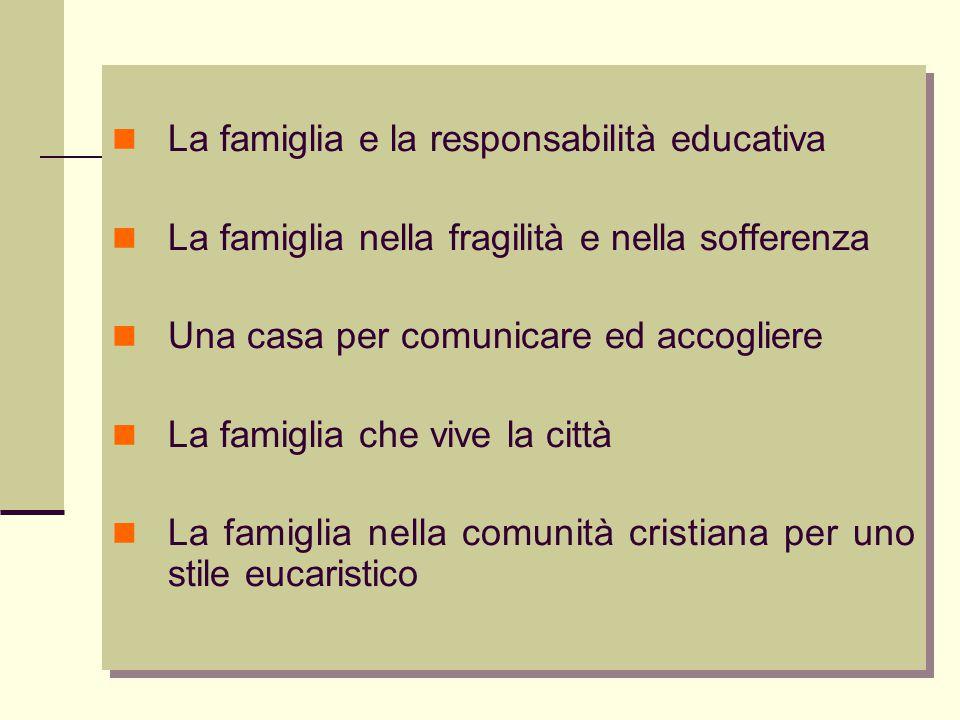 La famiglia e la responsabilità educativa La famiglia nella fragilità e nella sofferenza Una casa per comunicare ed accogliere La famiglia che vive la