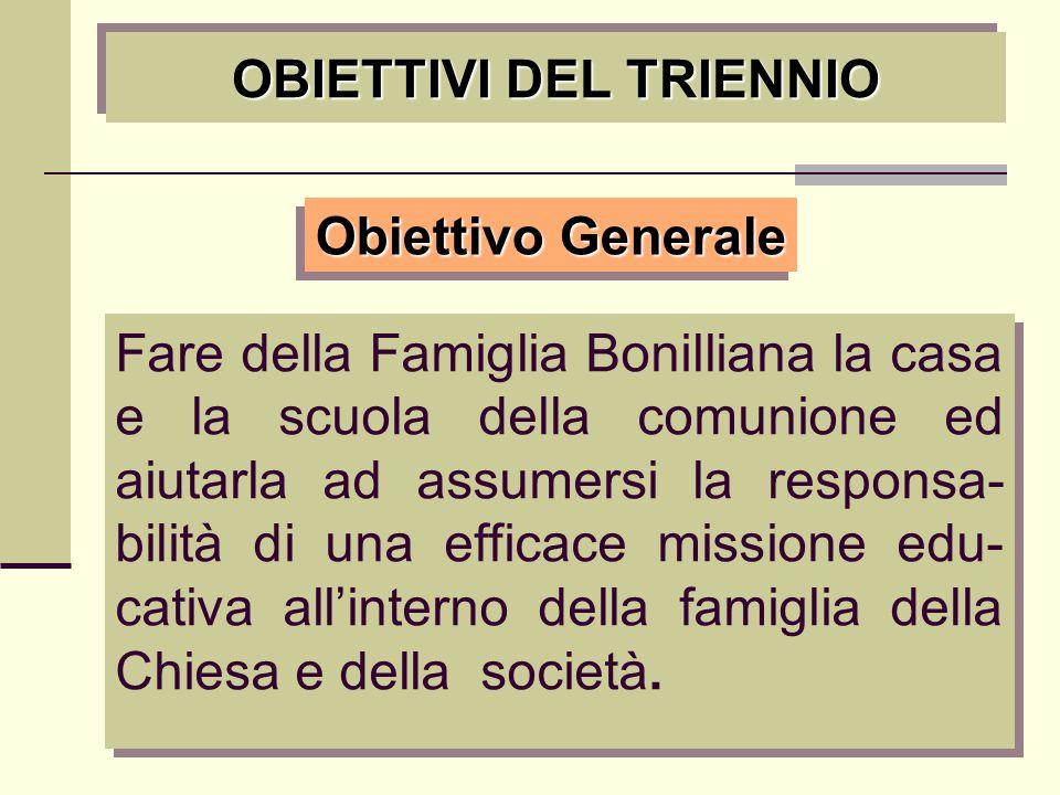 OBIETTIVI DEL TRIENNIO Fare della Famiglia Bonilliana la casa e la scuola della comunione ed aiutarla ad assumersi la responsa- bilità di una efficace