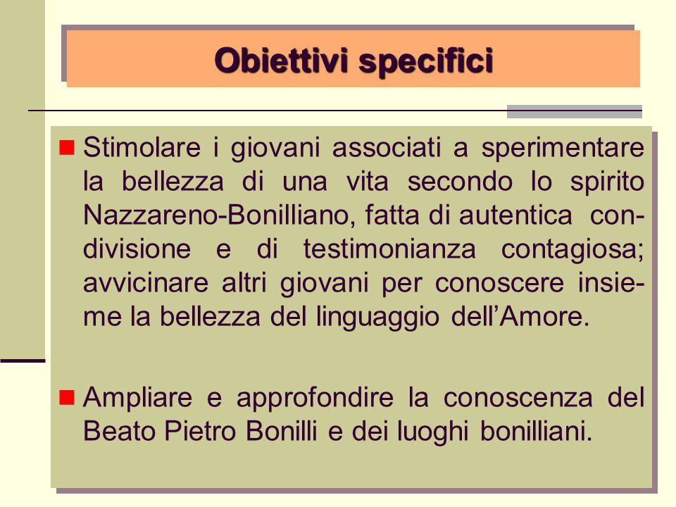 Obiettivi specifici Stimolare i giovani associati a sperimentare la bellezza di una vita secondo lo spirito Nazzareno-Bonilliano, fatta di autentica c