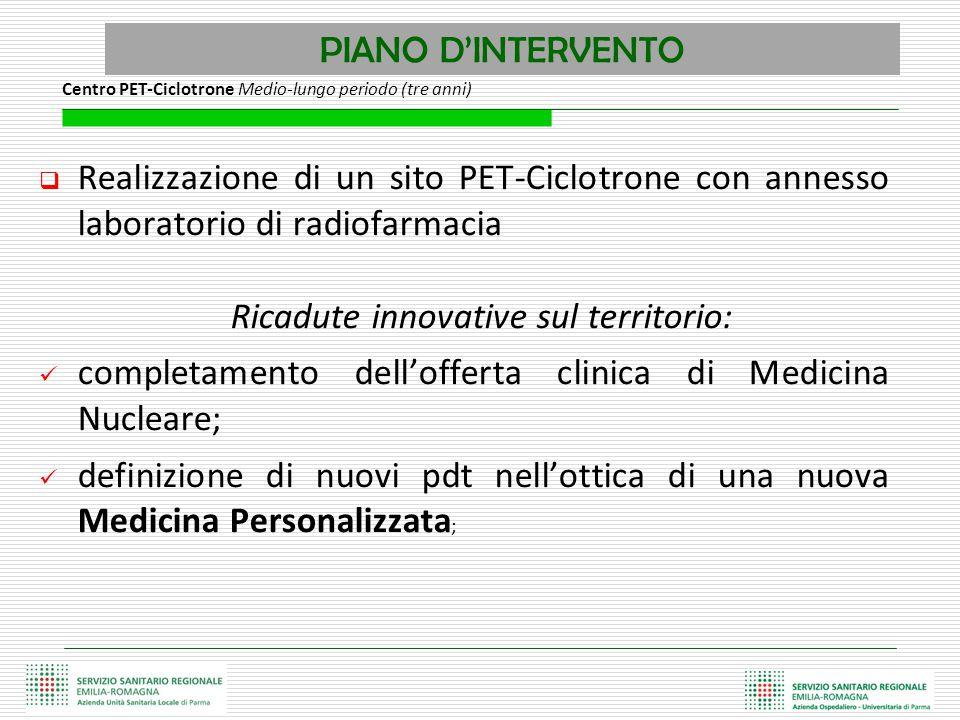PIANO D'INTERVENTO  Realizzazione di un sito PET-Ciclotrone con annesso laboratorio di radiofarmacia Ricadute innovative sul territorio: completament