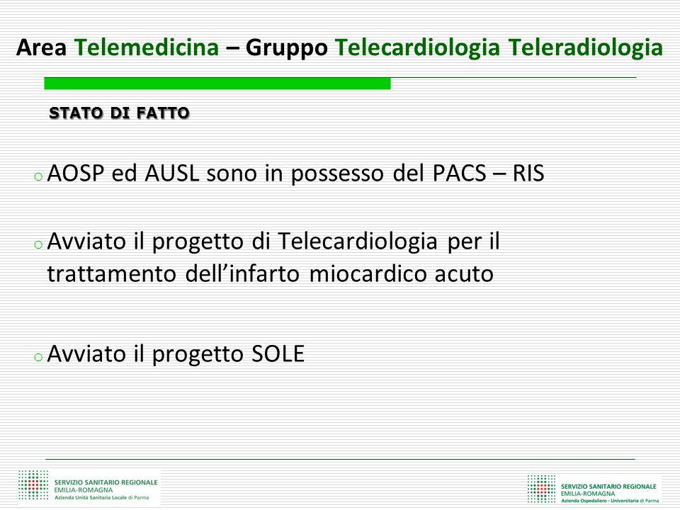 STATO DI FATTO STATO DI FATTO o AOSP ed AUSL sono in possesso del PACS – RIS o Avviato il progetto di Telecardiologia per il trattamento dell'infarto