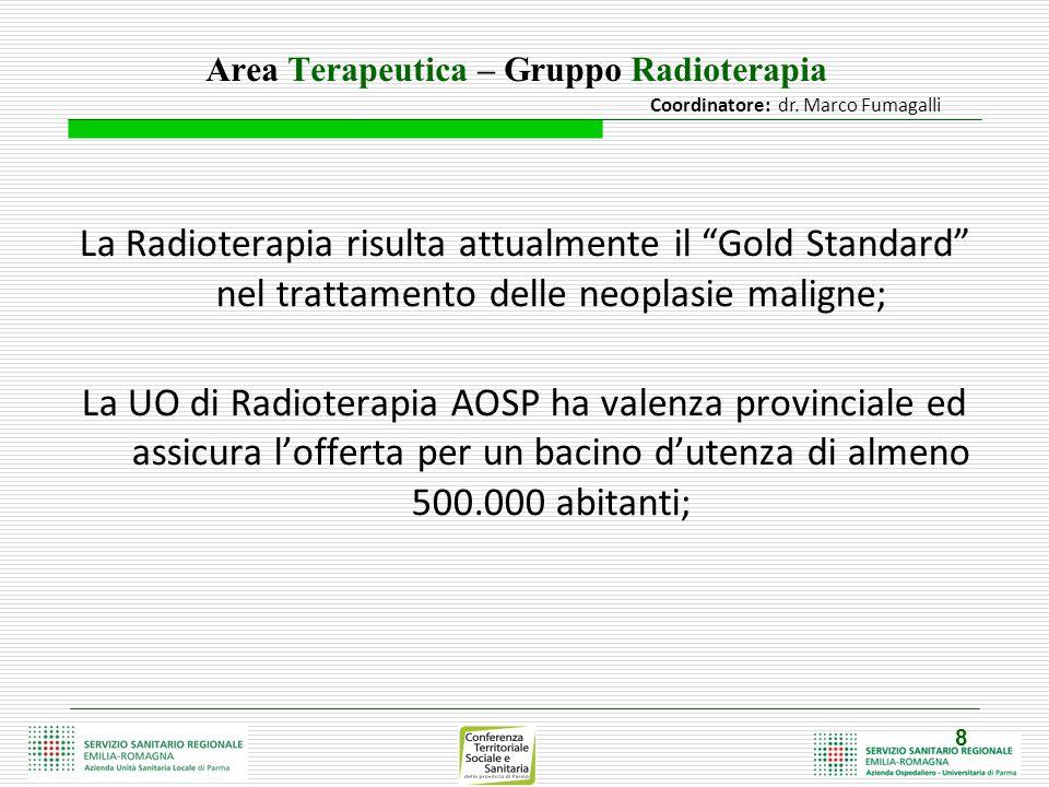 """8 Area Terapeutica – Gruppo Radioterapia La Radioterapia risulta attualmente il """"Gold Standard"""" nel trattamento delle neoplasie maligne; La UO di Radi"""