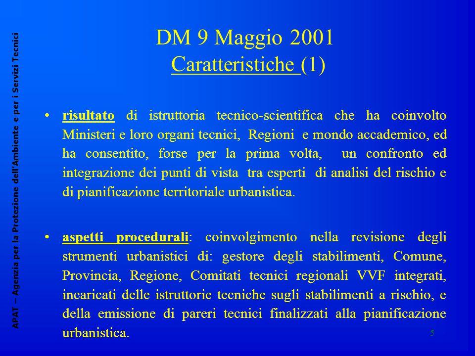5 DM 9 Maggio 2001 C aratteristiche (1) APAT – Agenzia per la Protezione dell'Ambiente e per i Servizi Tecnici risultato di istruttoria tecnico-scient