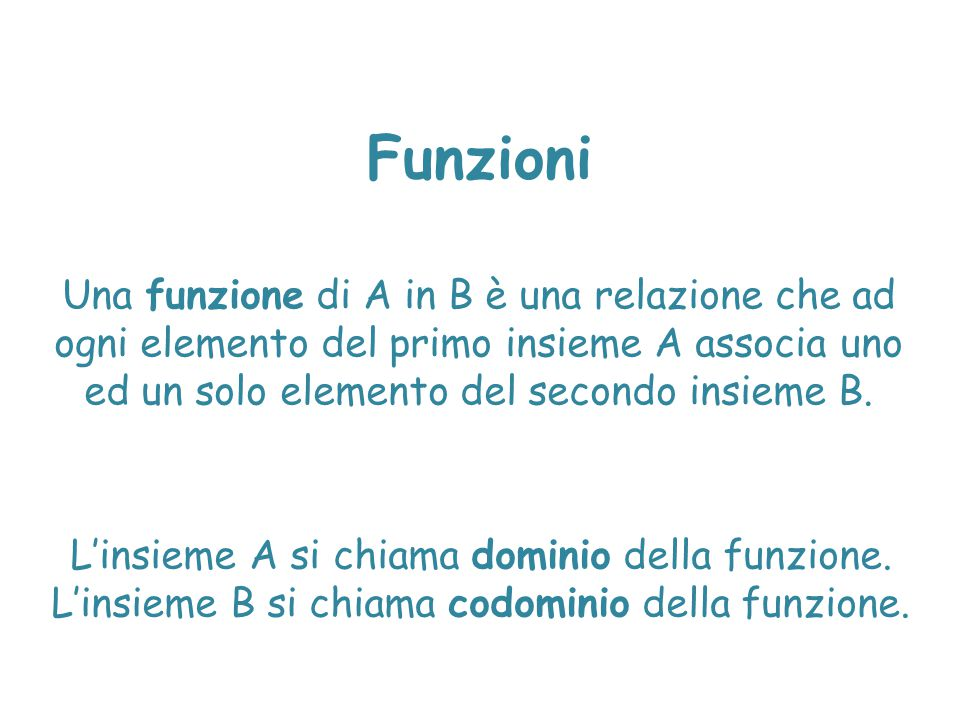 Una funzione di A in B è una relazione che ad ogni elemento del primo insieme A associa uno ed un solo elemento del secondo insieme B. L'insieme A si