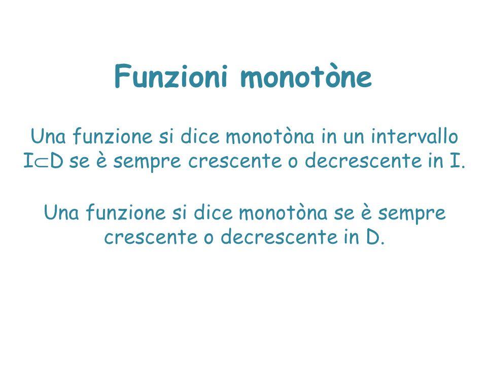 Funzioni monotòne Una funzione si dice monotòna in un intervallo I  D se è sempre crescente o decrescente in I. Una funzione si dice monotòna se è se