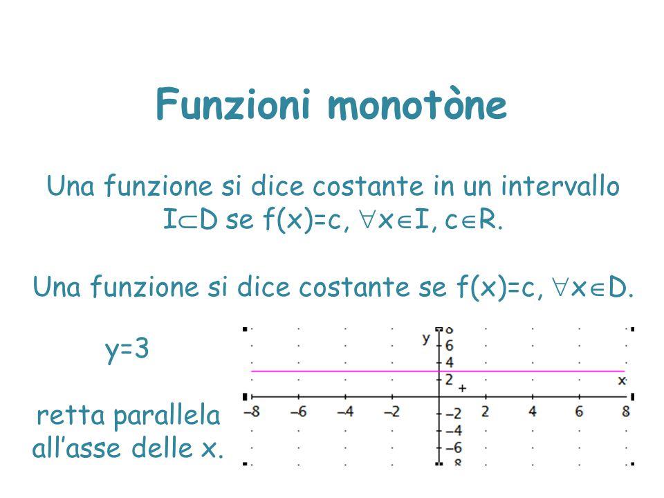Funzioni monotòne Una funzione si dice costante in un intervallo I  D se f(x)=c,  x  I, c  R. Una funzione si dice costante se f(x)=c,  x  D. y=