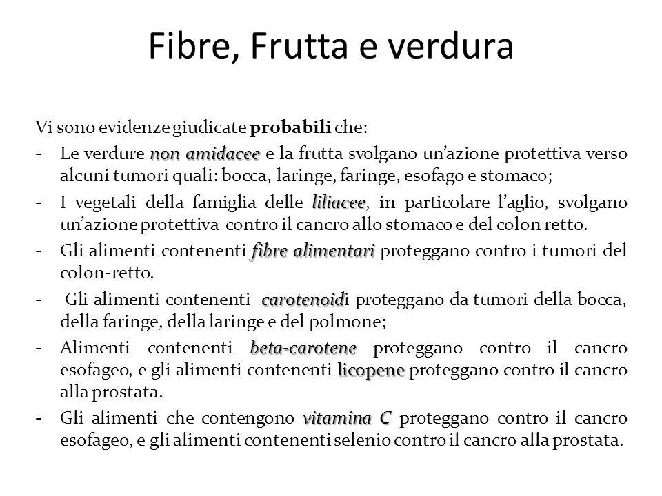 Fibre, Frutta e verdura Vi sono evidenze giudicate probabili che: non amidacee -Le verdure non amidacee e la frutta svolgano un'azione protettiva vers