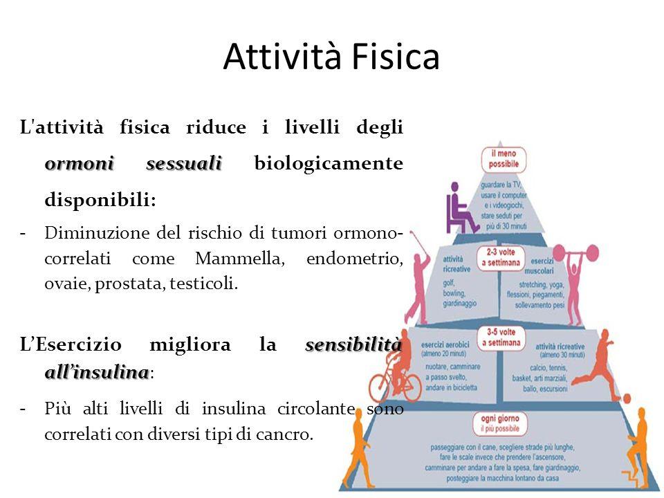Attività Fisica ormoni sessuali L'attività fisica riduce i livelli degli ormoni sessuali biologicamente disponibili: -Diminuzione del rischio di tumor