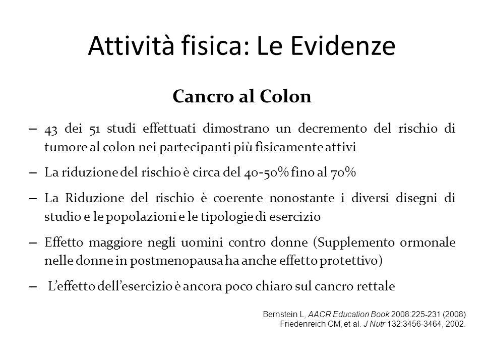 Cancro al Colon – 43 dei 51 studi effettuati dimostrano un decremento del rischio di tumore al colon nei partecipanti più fisicamente attivi – La ridu