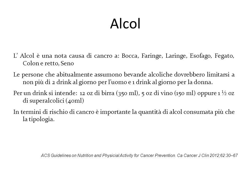 Alcol L' Alcol è una nota causa di cancro a: Bocca, Faringe, Laringe, Esofago, Fegato, Colon e retto, Seno Le persone che abitualmente assumono bevand