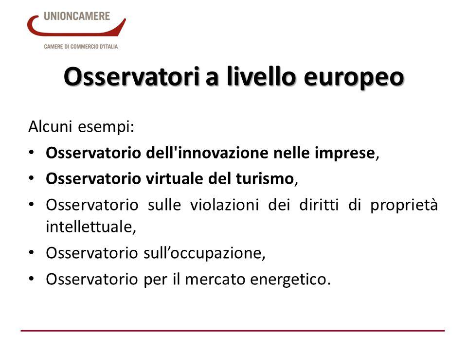 Osservatori a livello europeo Alcuni esempi: Osservatorio dell'innovazione nelle imprese, Osservatorio virtuale del turismo, Osservatorio sulle violaz