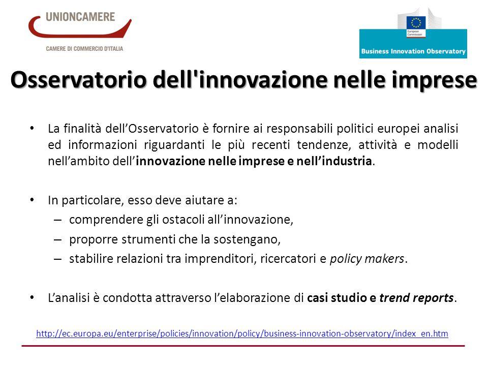 Osservatorio dell'innovazione nelle imprese La finalità dell'Osservatorio è fornire ai responsabili politici europei analisi ed informazioni riguardan