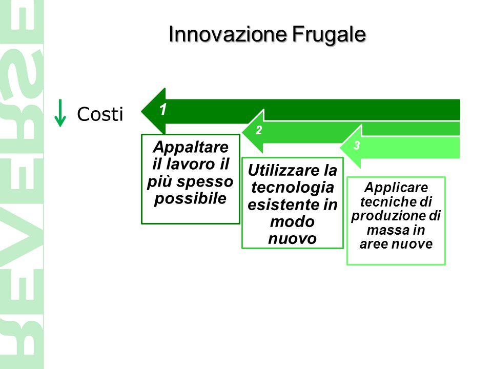 Costi 1 Appaltare il lavoro il più spesso possibile 2 Utilizzare la tecnologia esistente in modo nuovo 3 Applicare tecniche di produzione di massa in