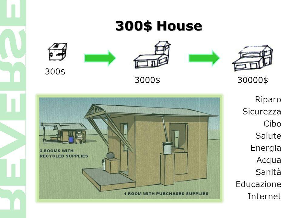 300$ House Riparo Sicurezza Cibo Salute Energia Acqua Sanità Educazione Internet 30000$3000$ 300$