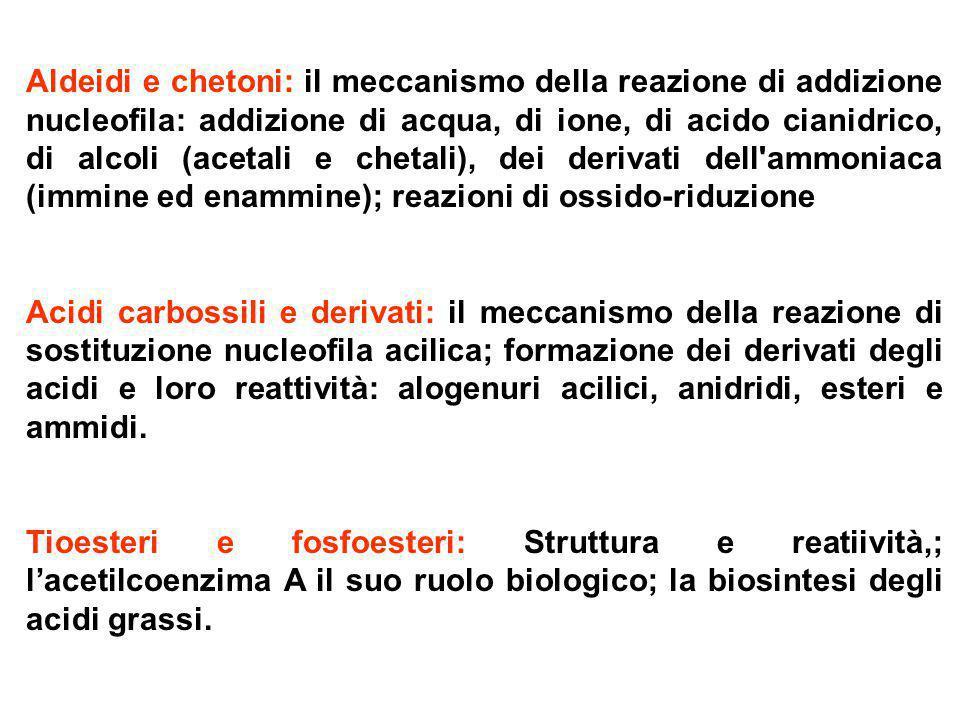 Aldeidi e chetoni: il meccanismo della reazione di addizione nucleofila: addizione di acqua, di ione, di acido cianidrico, di alcoli (acetali e chetal