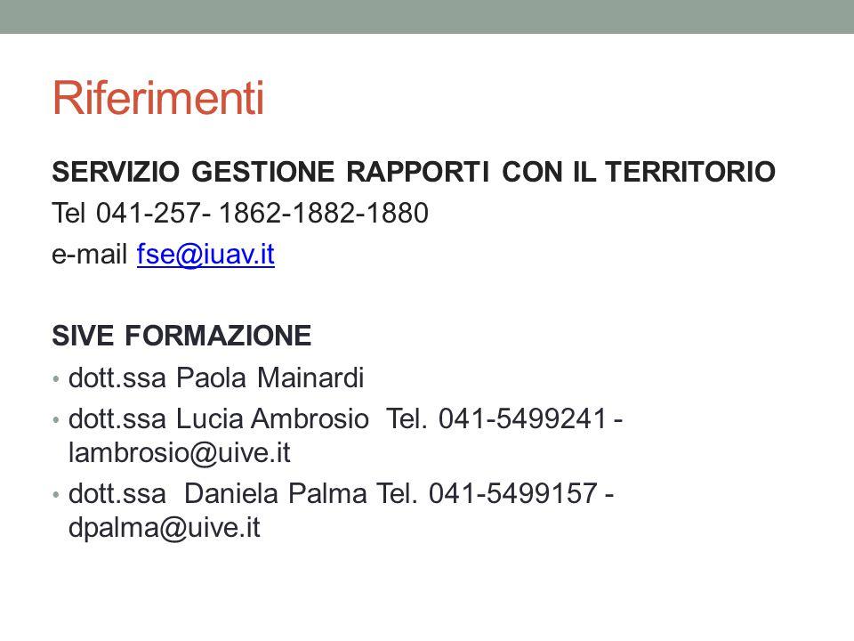 Riferimenti SERVIZIO GESTIONE RAPPORTI CON IL TERRITORIO Tel 041-257- 1862-1882-1880 e-mail fse@iuav.itfse@iuav.it SIVE FORMAZIONE dott.ssa Paola Mainardi dott.ssa Lucia Ambrosio Tel.