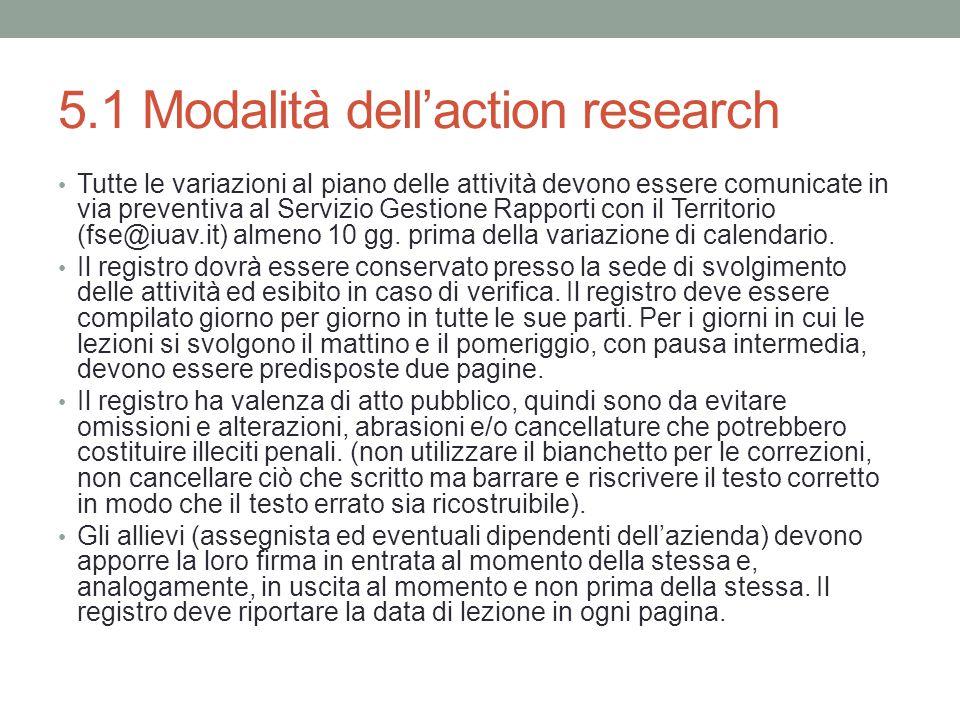 5.1 Modalità dell'action research Tutte le variazioni al piano delle attività devono essere comunicate in via preventiva al Servizio Gestione Rapporti con il Territorio (fse@iuav.it) almeno 10 gg.