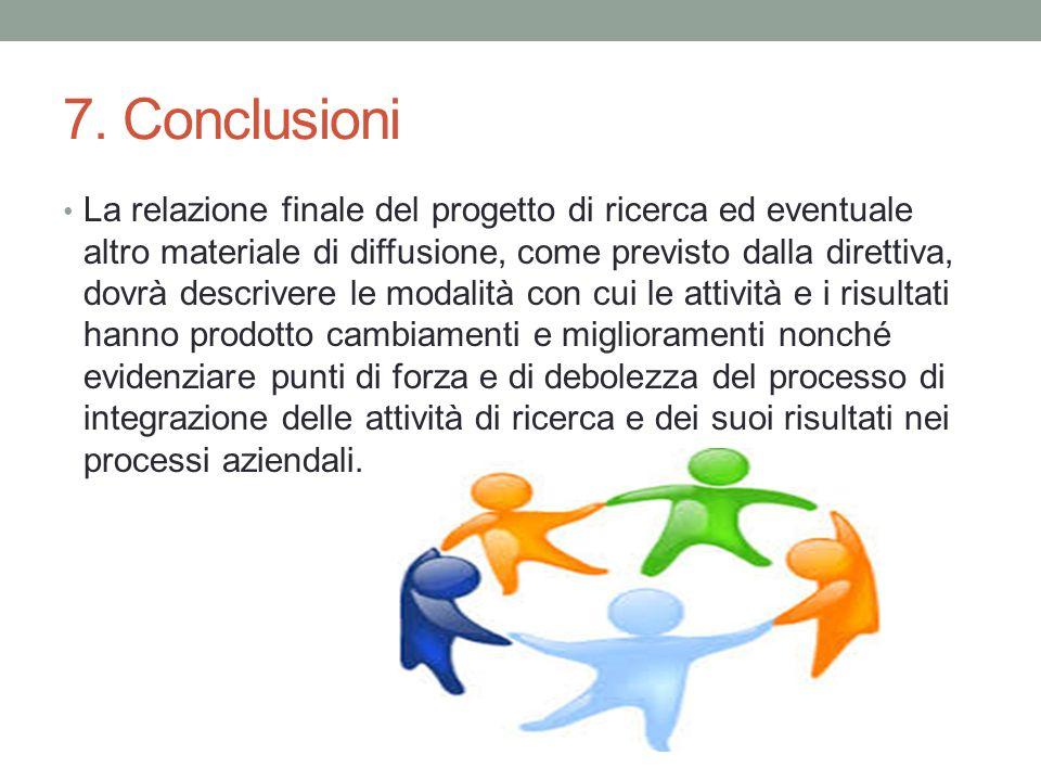 7. Conclusioni La relazione finale del progetto di ricerca ed eventuale altro materiale di diffusione, come previsto dalla direttiva, dovrà descrivere