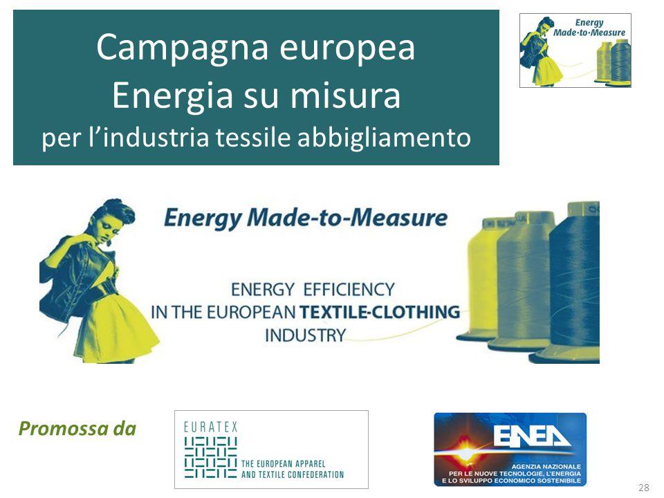 28 Campagna europea Energia su misura per l'industria tessile abbigliamento Promossa da