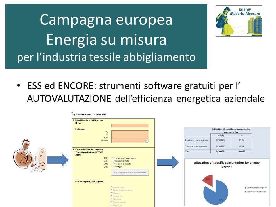 ESS ed ENCORE: strumenti software gratuiti per l' AUTOVALUTAZIONE dell'efficienza energetica aziendale