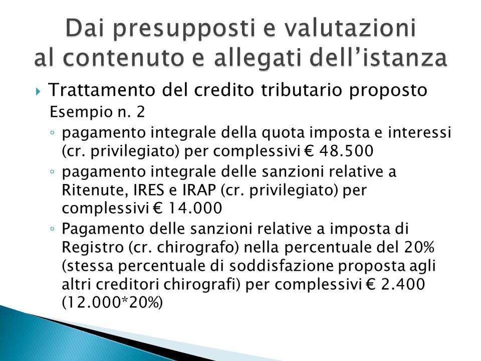  Trattamento del credito tributario proposto Esempio n.