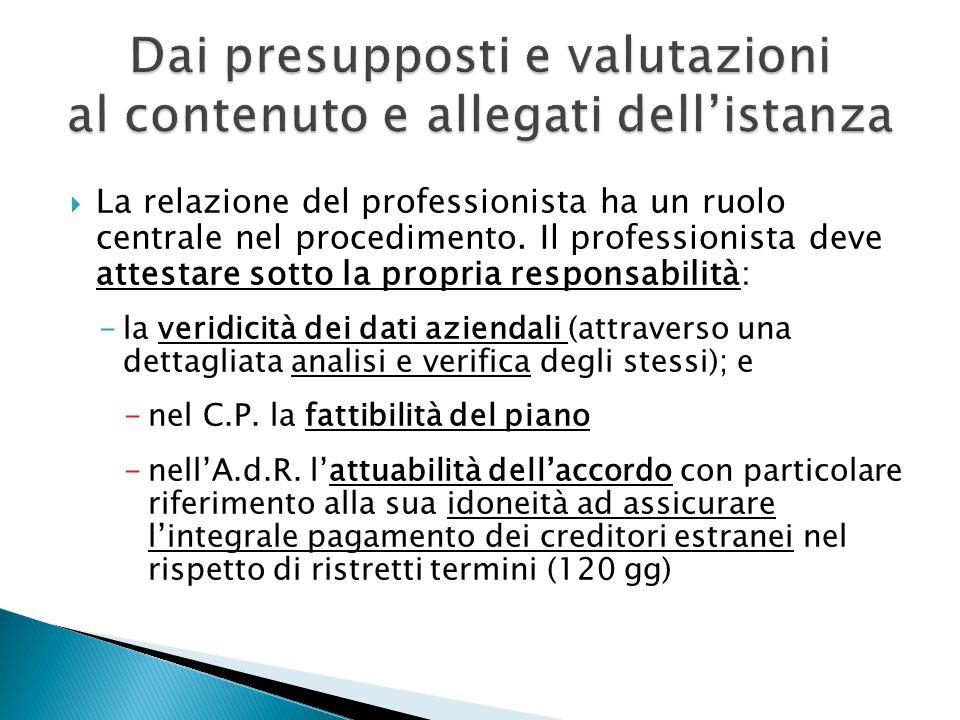  La relazione del professionista ha un ruolo centrale nel procedimento.