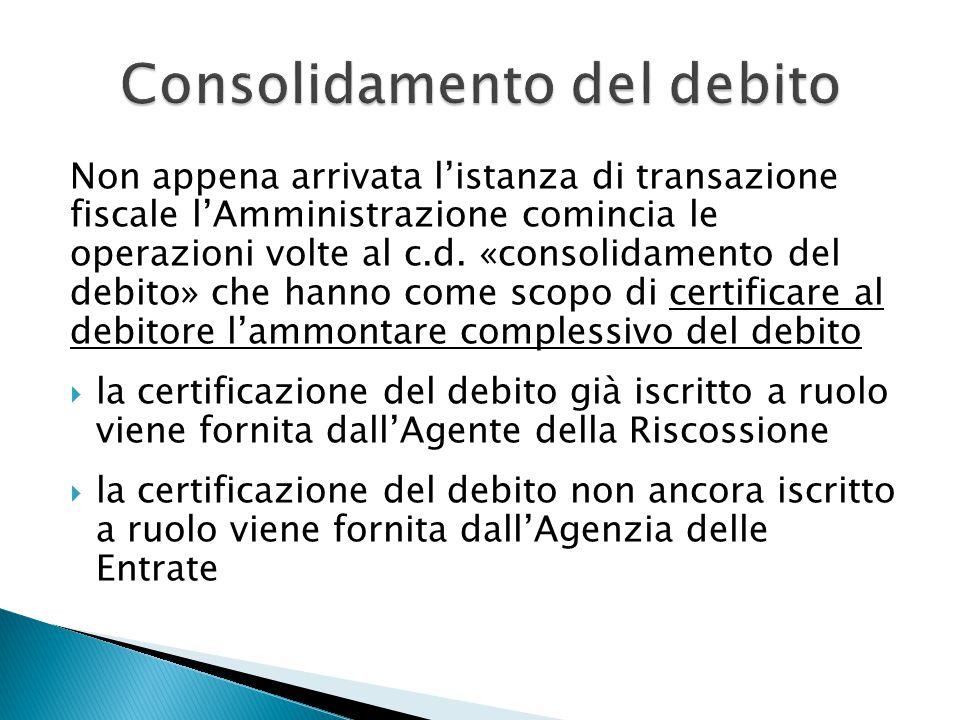 Ai fini del consolidamento del debito, all'istanza deve essere allegata:  copia delle dichiarazioni fiscali per le quali non è pervenuto l'esito dei controlli automatici, nonché  copia delle eventuali dichiarazioni integrative relative al periodo fino alla data di presentazione della domanda