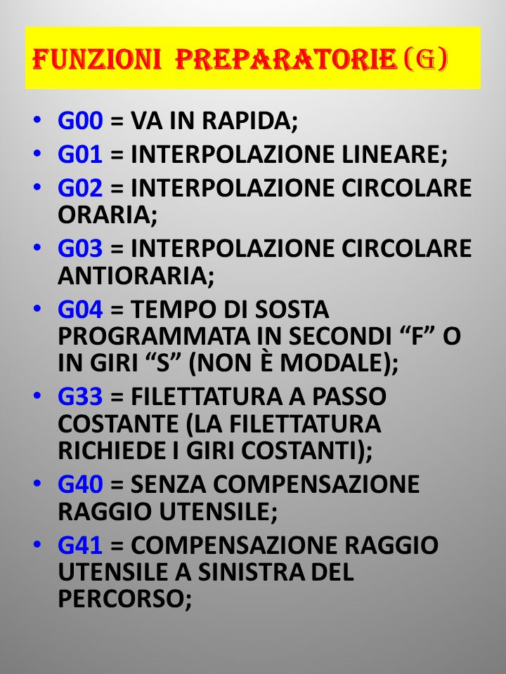 FUNZIONI PREPARATORIE (G) G00 = VA IN RAPIDA; G01 = INTERPOLAZIONE LINEARE; G02 = INTERPOLAZIONE CIRCOLARE ORARIA; G03 = INTERPOLAZIONE CIRCOLARE ANTIORARIA; G04 = TEMPO DI SOSTA PROGRAMMATA IN SECONDI F O IN GIRI S (NON È MODALE); G33 = FILETTATURA A PASSO COSTANTE (LA FILETTATURA RICHIEDE I GIRI COSTANTI); G40 = SENZA COMPENSAZIONE RAGGIO UTENSILE; G41 = COMPENSAZIONE RAGGIO UTENSILE A SINISTRA DEL PERCORSO;