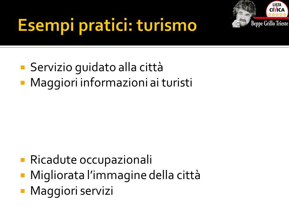  Servizio guidato alla città  Maggiori informazioni ai turisti  Ricadute occupazionali  Migliorata l'immagine della città  Maggiori servizi
